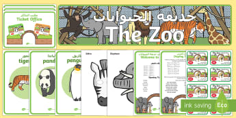 Zoo Role Play Pack Arabic/English - zoo, at the zoo, zoo resources, Role Play Pack - role play, Display signs, display, labels, packzoo
