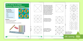 How To Draw An Islamic Geometric Repeating Pattern  Step-by-Step Instructions - Islamic patterns, Islamic art, 2D shapes, technical drawing, ks2 art, ks2 drawing, ks2 patterns.