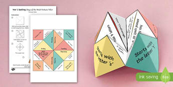 Year 1 Spelling   Days of the Week Fortune Teller