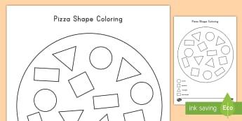 Pizza Shape Coloring Activity - color, coloring, pizza, shapes, art, math