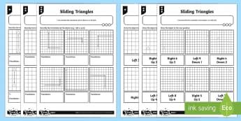 Sliding Triangle Translations Differentiated Worksheet / Activity Sheets - Position, direction, translations, translation, maths, geometry, coordinates, co-ordinates