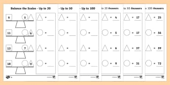 Balance the Scale Differentiated Worksheet / Activity Sheets Main - measure, weigh, Addition, subtraction, balance