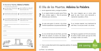 KS3 Mexican Day of the Dead Guess The Word Activity Sheet Spanish - Halloween, Day, Dead, Vocabulary, reading, Mexico, Traditions, Festivities, Celebrations