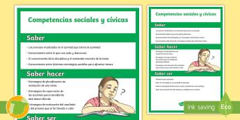 Póster: Las competencias clave - Competencias sociales y cívicas - CCBB, Competencias Básicas, Competencias Clave, Lomce, 2015,Spanish