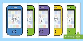 Numbers -50 to 50 on Mobile Telephones Display Cut-Outs - Numbers 0-100 on Mobile Telephones - 0-100, foundation stage numeracy, Number recognition, Number fl
