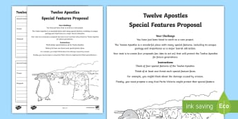 Australian States and Territories - Twelve Apostles Special Features Proposal Activity Sheet - worksheet, Australian Curriculum, HASS, Geography, Year Three, The Representation Of Australia As St