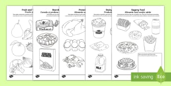Healthy Eating Colouring Pages English/Romanian - Healthy Eating Colouring Sheets - healthy eating, food groups, healthy menu, EAL, diet, balanced die