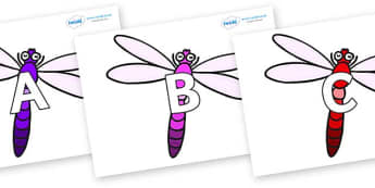 A-Z Alphabet on Dragonflies - A-Z, A4, display, Alphabet frieze, Display letters, Letter posters, A-Z letters, Alphabet flashcards