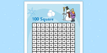 Winter Themed 100 Number Square - numeracy, numbers, seasons