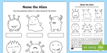 Phase 2 Phonics Name the Alien Activity Sheet - nonsense words, alien words, phonics, reading, digraphs, phoneme, grapheme, screening, phase two