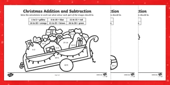 Christmas Addition and Subtraction to 30 Colour by Number - Christmas, Nativity, Jesus, xmas, Xmas, Father Christmas, Santa, calculation, colouring