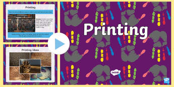 KS1 Printing PowerPoint - ks1 art, ks1 printing, printing methods, foam board printing, repeated patterns.