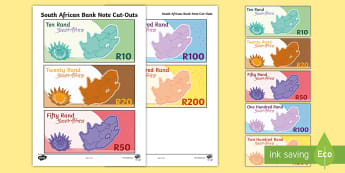 South African Bank Note Cut-Outs - South African Bank Notes, paper money, rands, currency, cut outs, money