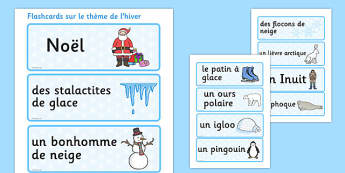 Cartes de vocabulaire sur le thème de l'hiver - french, winter, topic, word cards, word, card, hiver, vocabulaire, lecture, écriture