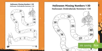 Halloween Spooky House Missing Numbers to 30 Activity Sheet English/Afrikaans - October, festival, autumn, celebration, math, numbers, EAL, worksheet