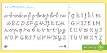 Groß und Kleinbuchstaben Arbeitsblatt Erstes Schreiben: Buchstaben und Zahlen nachspuren - Das Alphabet, das Alphabet nachspuren, nachspuren, erstes schreiben, Schreiben lernen, Grundschrift,