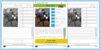 Australian Rio Olympian Mary Hanna Handwriting Practice Worksheet / Activity Sheets-Australia, worksheet