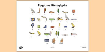 Ancient Egyptian Hieroglyphs Sheet - Ancient Egyptian, history, Egyptians, worksheet, activity, sheet, Egypt, pyramids, Pharaoh, hierogliphics, hieroglyphs, Tutankhamun, Giza, Dahshur, Mummy