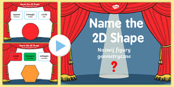 Name the 2D Shape KS1 PowerPoint Quiz English/Polish