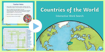Countries Of The World Interactive Word Search - CfE Social Studies resources, people place and environment, countries, interactive, word search, ,Sc