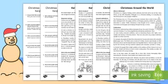 Christmas Around the World Differentiated Reading Comprehension Activity- English/Afrikaans - December, celebrate, traditions, Christmas tree, Desember, tradisies, EAL