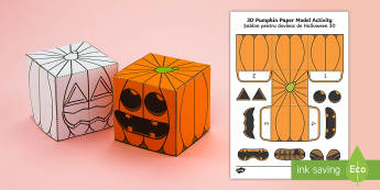 Simple Make Your Own 3D Pumpkin Halloween Paper Craft English/Romanian - pumpkin, halloween, models, halloween activities, EAL