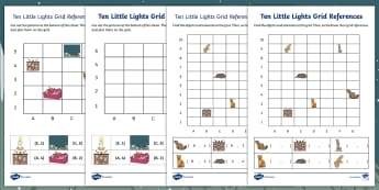 Ten Little Lights Grid References Worksheet / Activity Sheets - Twinkl Originals, Fiction, Christmas, Winter, Snow, Cold, Maths, KS1, co-ordinates, coordinates, plo