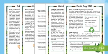 Earth Day Differentiated Reading Comprehension Activity English/Polish - KS1, Earth Day, Environment, Pollution, Trees, Deforestation, Earth, Planet, Animals, Habitat, Carbo