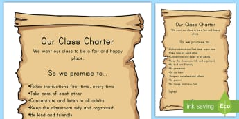 Class Charter Display Poster - class charter, poster, rules, behavior, values, expectations