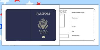 United States of America Passport Template - passport, template