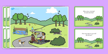 Park Scene and Question Cards Romanian Translation - romanian, park, scene, question, cards