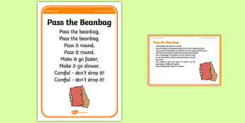 Foundation PE (Reception) Pass the Beanbag Warm-Up Activity Card - physical activity, foundation stage, physical development, games, dance, gymnastics