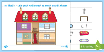 In the House Cut and Paste Activity Sheet Gaeilge  - ROI Sa bhaile resources, cut and paste, in the house, household items, Gaeilge ,Irish