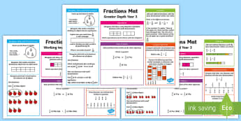 Year 3 Fractions Differentiated Maths Mat - KS2, Maths, Fractions, mats, Year 3, Y3