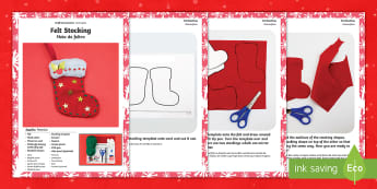 Felt Stocking Christmas Craft Instructions English/Portuguese - Felt Stocking Christmas Craft Instructions - christmas, stocking, craft, chritmas, chriatmas, christ
