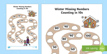 Winter Path Missing Numbers Counting in 10s Worksheet / Activity Sheet