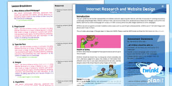 Computing: Internet Research and Webpage Design Year 5 Planning Overview