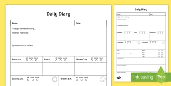 Daily Care Sheet for Preschooler Record - Daily sheet, daily diary, daily record, care sheet, daily communication, daily sheet, baby diary