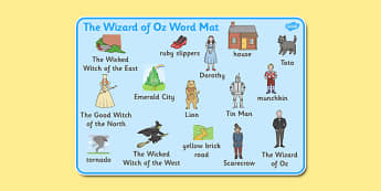 Wizard of Oz Word Mat - Wizard of Oz, Oz, Dorothy, yellow brick road, wicket witch, word mat, writing aid, mat, Emerald City, Toto, the good witch, munchkin, tin man