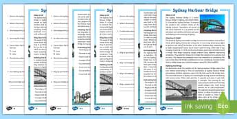 Sydney Harbour Bridge Differentiated Reading Comprehension Activity - Guided Reading, Reading strategies, australian landmark, famous places, australian history,Australia