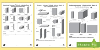 Year 6 Volume of Cuboids  Activity Sheets - boxes, volume, cuboids, cubes, swimming pools, worksheets