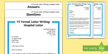 KS1 Formal Hospital Letter Differentiated Reading Comprehension Activity - Example Texts Y2, Letter Writing, formal letters, reading comprehension