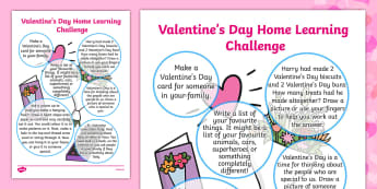 Valentine's Day Home Learning Challenge Sheet Reception FS2 - eyfs, valentines day, home learning, challenge