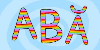 Literele alfabetului românesc multicolor - Decupabile - litere, alfabet, română, românesc, culori, colorate, printabile, de decupat, sebare, serbarea abecedarului, alfabetul, decupabile, de decupat, de afișat, de perete, limba română, comunicare în l