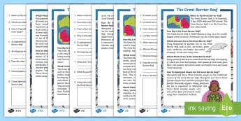Great Barrier Reef Differentiated Reading Comprehension Activity - Australian ocean, australian geography, australian landmark, guided reading, reading strategies, lit