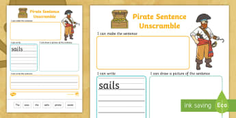Pirate Sentence Unscramble Worksheets - pirate, literacy, words, Jumbled up sentences