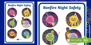 Fireworks / Bonfire Night Safety Posters - Bonfire safety, Fireworks Night safety, fire safety, Display Words, display, Guy, Autumn, A4, display, firework, bang, crackle, woosh, rocket, sparkler, catherine wheel, screech, whirl, fire, bonfire, leaves