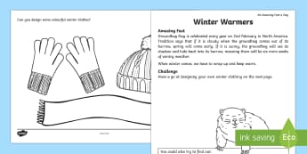 Winter Warmers Activity Sheet - Amazing Fact Of The Day, activity sheets, powerpoint, starter, morning activity, February, design, w
