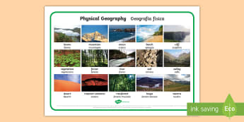 Physical Geography Photo Word Mat English/Italian - geography, continents, nations,, italiano, italian, materiale, scolastico, words