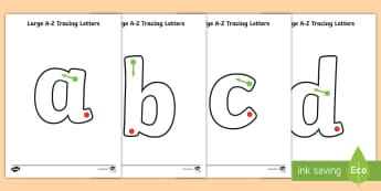 Large A Z Tracing Letters - Large Phase 2 Tracing Letters - tracing letters, phase 2, phase two, handwriting, letter formation,
